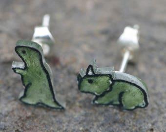Tiny Handdrawn Dinosaur earrings