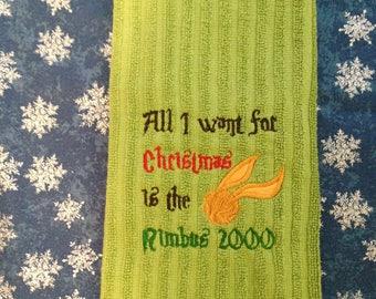 Harry Potter inspired Nimbus 2000 dish towel - free shipping