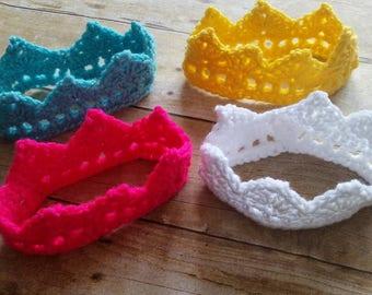 Baby Crochet Tiara, Pink Baby Crown, Newborn Photo Prop Tiara, Baby Girls' Crown, Infant Baby Gift, Newborn Baby Shower Present, Girls' Gift