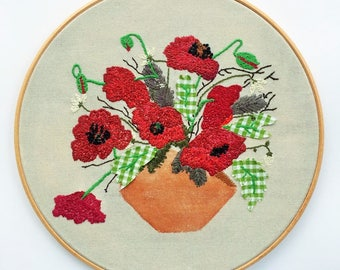 Mighty Poppies ,Hand Embroidery Art, Embroidery Hoops, Fibre Art