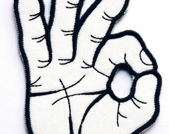 White hand OK patch embroidered patch fusible white hand 8,2 cm