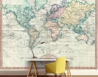 world map wall mural, vinly wall mural, vintage old map, mural, self-adhesive vinly, world map wall mural, abstract wallmural, wallpaper