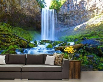 Waterfall wall decal, waterfall wallpaper, river mural, river wall mural, water mural, self-adhesive vinly, waterfall river, waterfall