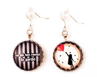 Earrings - cabochon - where will wear you your heart