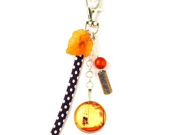 Bag charm - cabochon - autumn love