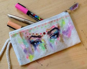 Lovely Glittery Eye Zippered Purse/Pouch/Clutch with Crystal zipper