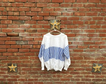 Stripe Perfection Shirt / 80s Preppy White and Blue Stripes Mens Pullover Long Sleeve Shirt