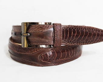 Belt in genuine OSTRICH and genuine CALFSKIN-belt in real ostrich leather and true hand-brushed calf