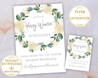 Young Women in Excellence Invitation + Flyer Editable PDF Template White Flowers, LDS, Young Womens invite, PRINTABLE