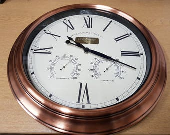 Engraved Personalised 15 inch Copper Clock & Barometer. Engraved with a message of your choice, an elegant gift item! Comes boxed