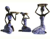 3-Piece Set African Women Figure Decor Art Statues Sculptures Candle Holder- Human Decorative Home Black Figurines For Table Top or Floor