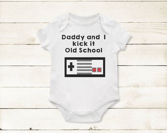Daddy/Mommy/ or I/ Kick it old School Video Game Baby one piece