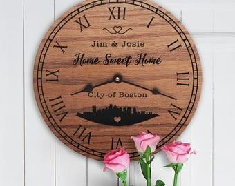 Boston City Skyline - I Love Boston - Boston Home Gift - Living in Boston MA - Massachusetts - City Skyline Silhouette