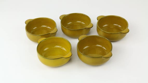 Vintage Melitta Ceracron Earthenware soup Bowls set 5 pcs in Ochre yellow German pottery