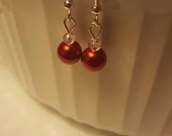 Red wedding earrings Red pearl earrings Red wedding jewelry Wedding pearls Red bridesmaid gifts Red bridesmaid jewelry Red bridal jewelry