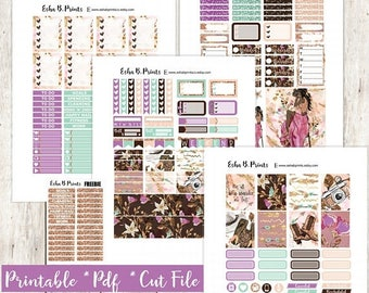 Glam Wanderer Dark Printable Planner Stickers/Weekly Kit/For Use with Erin Condren/Cutfile Fall September Boho Fashion Glam Glitter