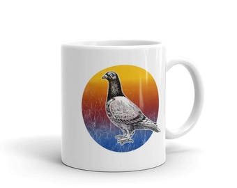Pigeon Art Print Mug Colorful Design