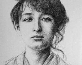 "Original portrait of Camille Claudel 30 x 40 cm 12 x 16 ""portrait of artist portrait of woman"