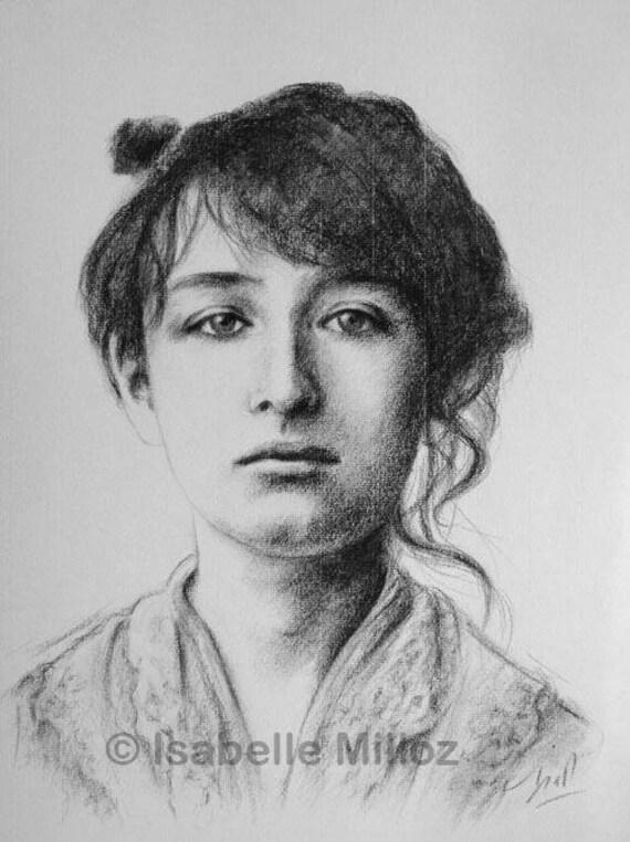 Camille claudel portrait original dessin la main fusain - Camille dessin ...