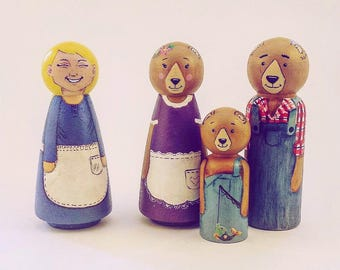 Hand Painted Goldilocks and the Three bears