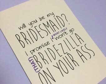Will you be my... bridesmaid bridezilla card