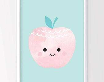 Apple Print, Nursery Decor, Kids Decor, Kids Printable Art