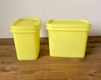 Set of 2 Vintage Tupperware Containers / Yellow Tupperware / Storage Containers With Lids / Retro Kitchen