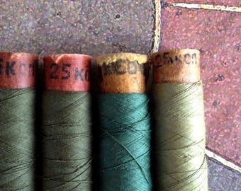 Spools of cotton threads in set. 4 spools in set: green colors.