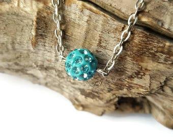 Turquoise shamballa bead, chain pendant necklace