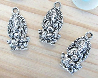 Ganesha charms, elephant charms, silver ganesha pendant, indian elephant charm, animal charms, bracelet charms, Indian ganesha goddess
