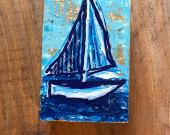 Sailboat Painting on Wood