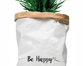"Paper bag ""Be Happy"" - large kraft paper storage bag"