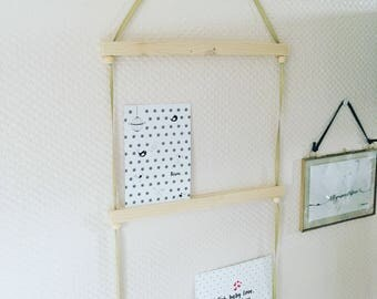 Eco friendly natural wood and olive Ribbon - Scandinavian card holder