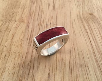 Coral ring, red coral ring,silver coral ring,rectangle ring, unique silver ring, statement ring,solid silver ring, anniversary ring