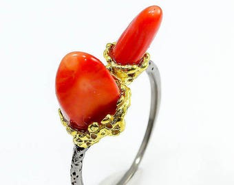 Coral ring. Sterling silver ring.