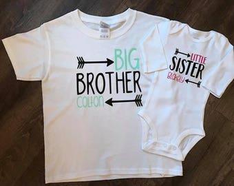 Big Brother/Little Sister Set, Sibling Set, Sibling Outfit, Big Brother Shirt, Little Sister Onesie