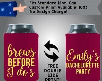 Brews Before I Do's Bachelorette Party Collapsible Neoprene Bachelorette Cooler Double Side Print (Bachelorette53)
