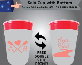 Initials Name & Name Solo Cup with Bottom Cooler Double Side Print (SOLOC-W8)