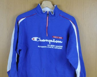 Vintage Sweater Champion Has Been Making Authentic Athletic Apparel Blue Color Nice Sweatshirt
