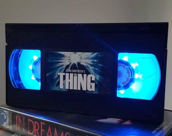 Retro VHS The Thing John Carpenter Night Light Table Lamp, Horror Movie . Order any movie! Great personal gift. Man Cave Father's Day.