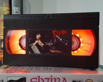 Retro VHS Elvira Scifi Night Light Table Lamp, Horror Movie . Order any movie! Great personal gift. Man Cave, Office, bedroom. Customise!