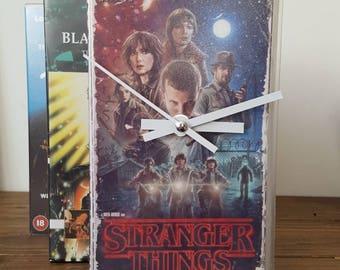 Vintage Retro Clock Stranger Things Original VHS Case Clock. Freestanding Desk Clock. Great gift! Mancave, Office, Bedroom!