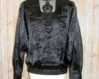 Size 12 vintage 80s extreme highneck pleated appliqué lace trim top black (HK90)