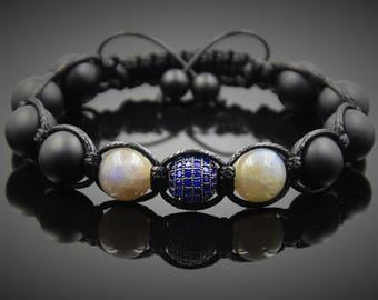 Wrap bracelet Shamballa Bracelet  Black Onyx Labradorite Bracelet CZ Bracelet Energy Bracelet Gemstone bracelet Protection Balance Bracelet
