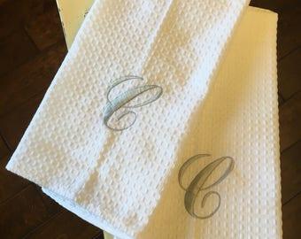 Single letter dish towel