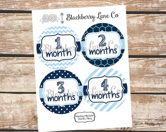 Monthly Baby Stickers, Multi-Pattern, Baby Month Stickers, Baby Pictures, Monthly Baby Stickers, Navy, Light Blue, Baby Boy
