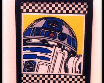 Limited Stock - Star Wars, R2D2, Pop Art, Collage, Wall Art, Picture - Framed Fabric with checkered detail.