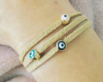 Evil Eye Suede Bracelet