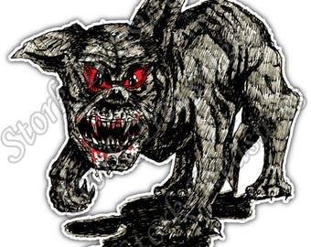 Hell Dog Demon Gargoyle Devil Evil Car Bumper Vinyl Sticker Decal