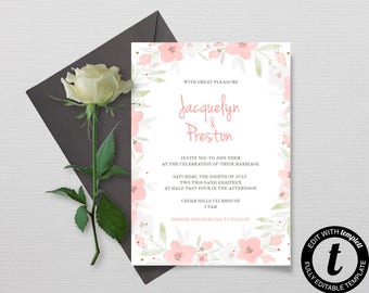Printable Wedding Invitation Template, Floral Printable Wedding Invitation Set, DIY Pink watercolor, Instant Download, Editable Invitations